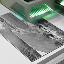 Printer printing a Vintage Aerial photo