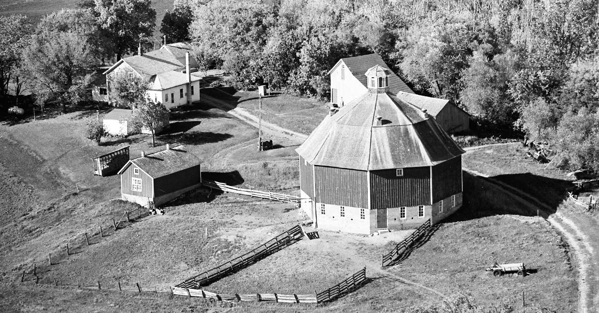 A Vintage Aerial photo of a unique round barn in Minnesota