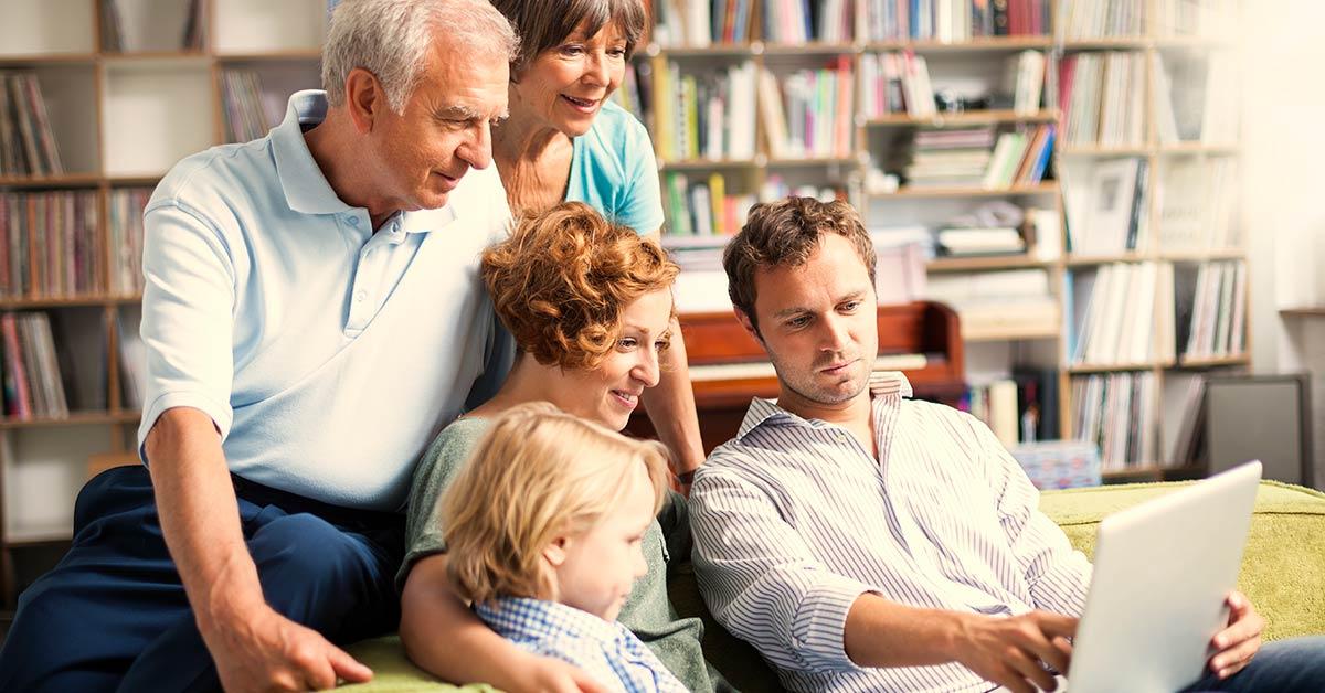 Family browses through photos
